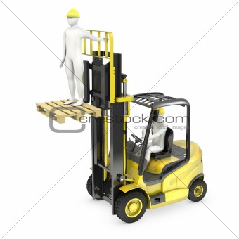 Abstract white man in a fork lift truck, lifting other worker on