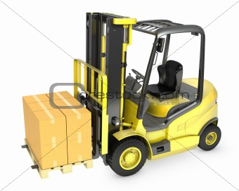 Yellow fork lift truck with stack of carton boxes