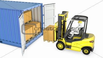 Yellow fork lift truck unloads cargo container