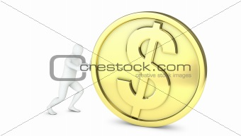 Abstract white guy rolls large golden coin