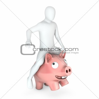 Abstract white man holds rides on piggy bank