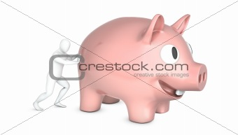 Abstract white man holds pushes giant piggy bank