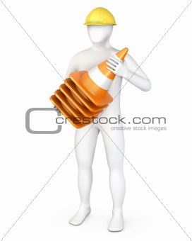 Worker with a stack of road cones