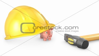Piggy bank looks out of large helmet
