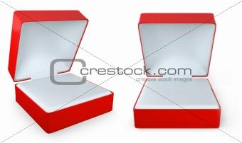 Red rectangular ring box, two views