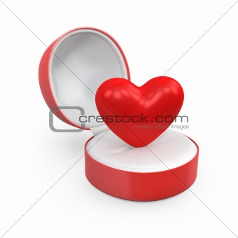 Heart in a round gift box