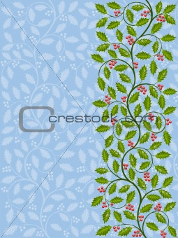 Floral pattern with ilex. Decorative background. Vector illustration.