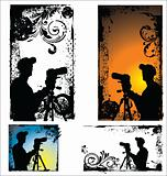 Grunge vector Photographers silhouette set