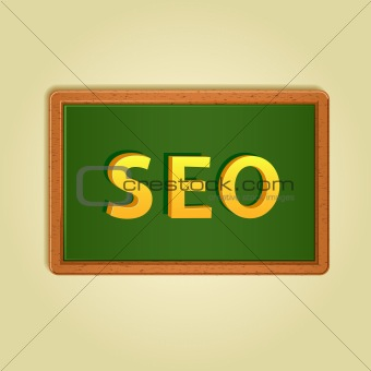 Colorfull magnets on board. Word SEO. Vector