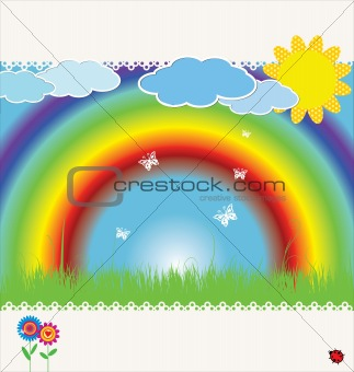 spring background with rainbow  illustration