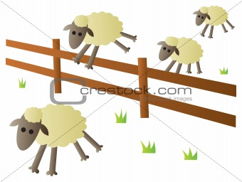 Sheep Jumping Fence