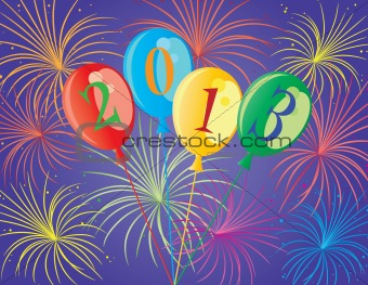 Happy New Year 2013 Balloons Illustration
