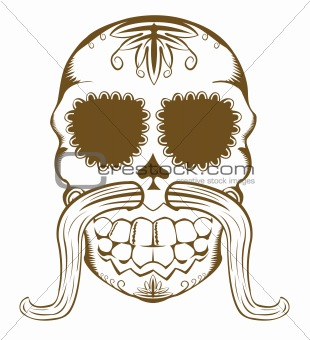 Vector illustration of sugar skull with mustaches