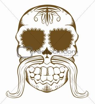 Vector illustration of sugar skull with mustaches