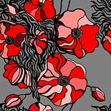 Pattern. Abstract Red poppies.
