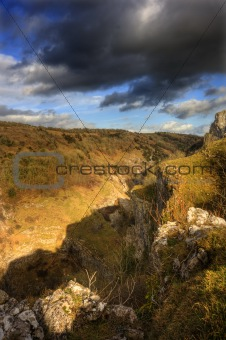 Stunning landscape across top of ancient mountain gorge with bea