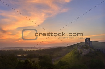 Romantic fantasy magical castle ruins against stunning vibrant s