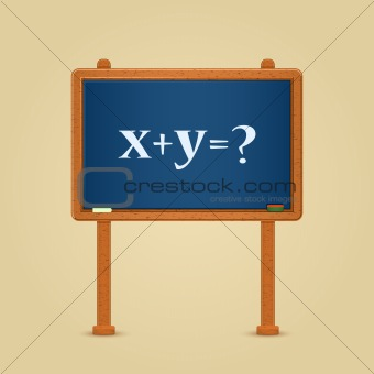 Blackboard with math equation and question mark. Vector