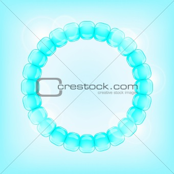 Light Blue Bubble in Round Frame. Bright Vector Background Illustration