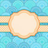 Invitation Card with Label for Text on Blue Seamless Pattern with Circles. Vector Illustration
