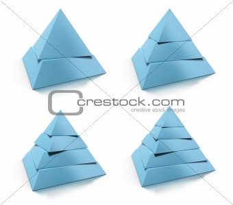 3d abstract pyramid set, design elements