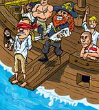 Cartoon pirate walking the plank