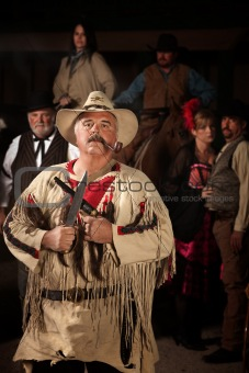 Smoking Frontiersman with Weapons
