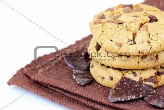 biscuits cookies  with chocolate chips in a brown napkin