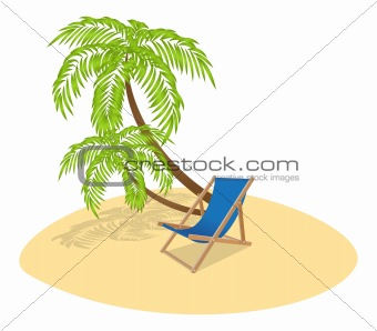Sun Lounger and Palm Tree
