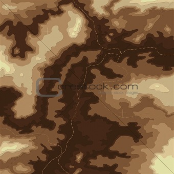 Topographic 3d map natural color