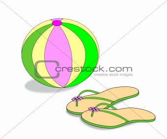 Beach Ball and Sandals