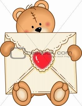 Bear Secure Envelope Heart