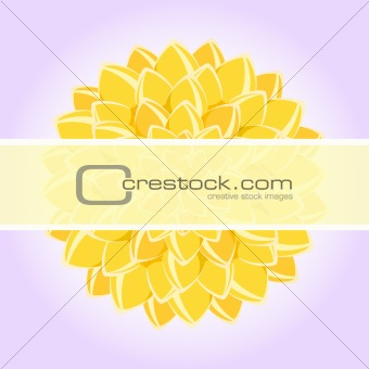 Card with Yellow Flower and place for Text. Vector Illustration