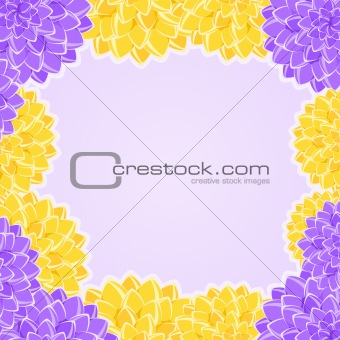 Card with Yellow and Violet Flowers Frame. Place for Text. floral Vector Illustration