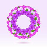 Pink Violet Flowers in Circle. Vector Illustration of Floral Round Frame