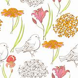 Seamless wallpaper with bird and flowers