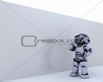Robot with jigsaw puzzle business metaphor