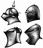 set of ancient helms