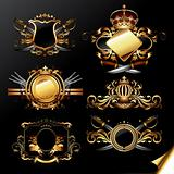 set of ornamental golden labels