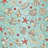Hand drawn seamless pattern with shells and starfish