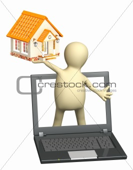 Puppet with laptop and house