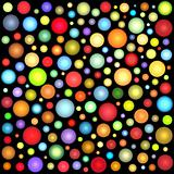 glossy abstract sphere bubble pattern in multiple color on black