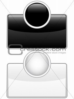 Glossy web buttons black and white