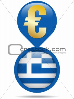 Flag Button Greece Euro Crisis