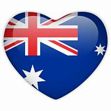 Australia Flag Heart Glossy Button