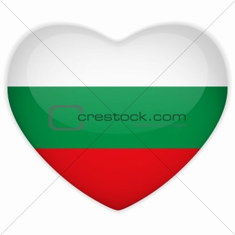 Bulgaria Flag Heart Glossy Button