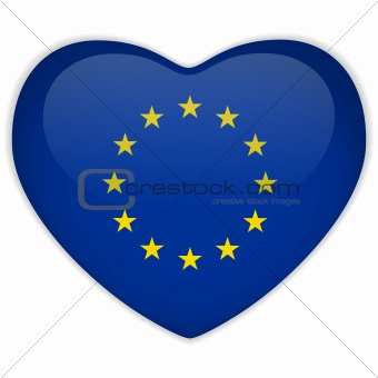 Europe Flag Heart Glossy Button