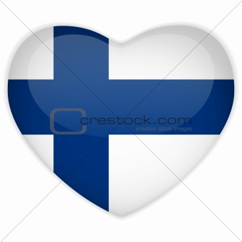 Finland Flag Heart Glossy Button