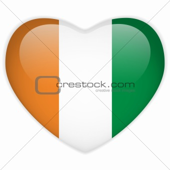 Ireland Flag Heart Glossy Button