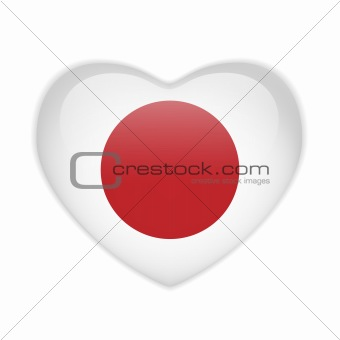 Japan Flag Heart Glossy Button